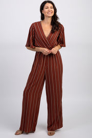 Rust Striped Short Bell Sleeve Wrap Jumpsuit