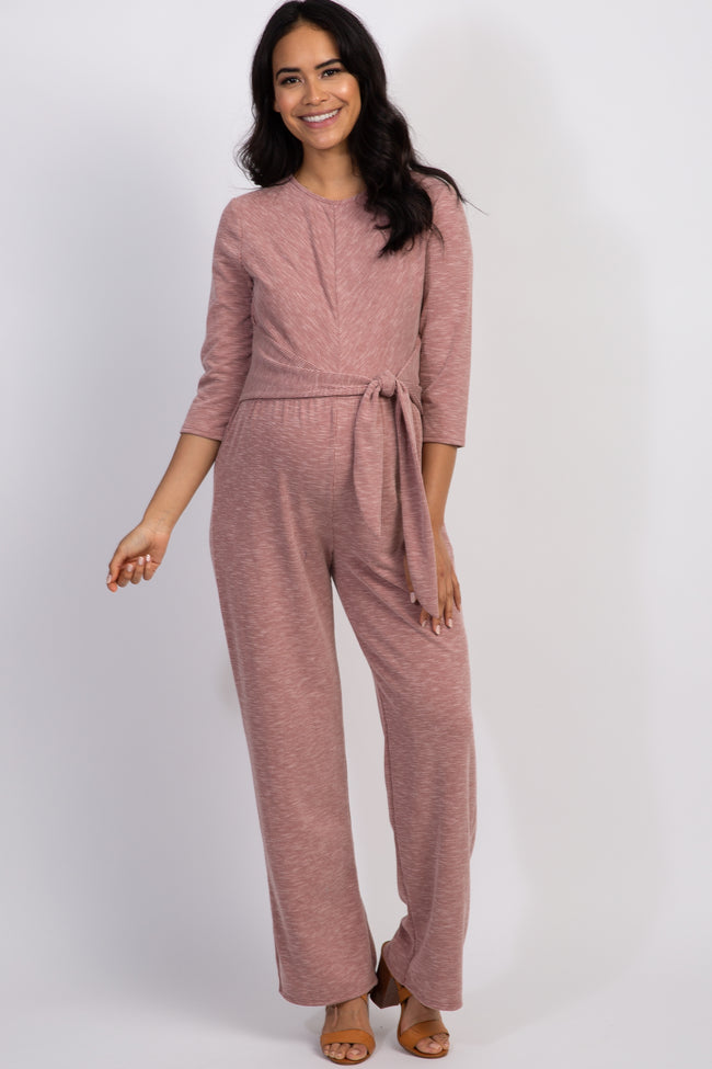 Mauve Pinstriped Tie Front Maternity Jumpsuit