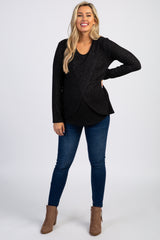 PinkBlush Black Heathered Long Sleeve Wrap Maternity Nursing Top