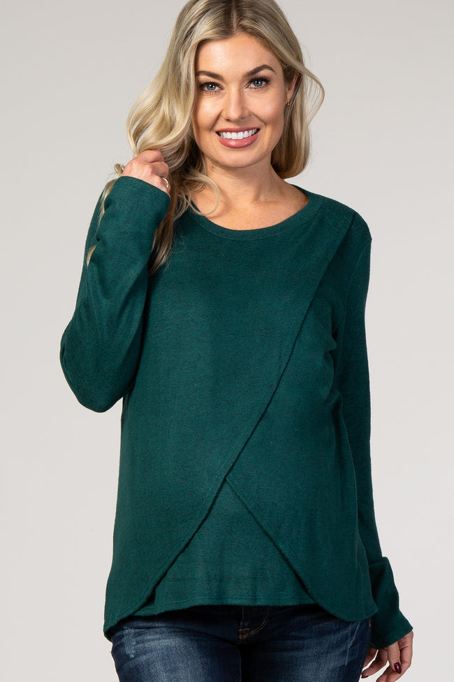PinkBlush Forest Green Long Sleeve Wrap Maternity Nursing Top