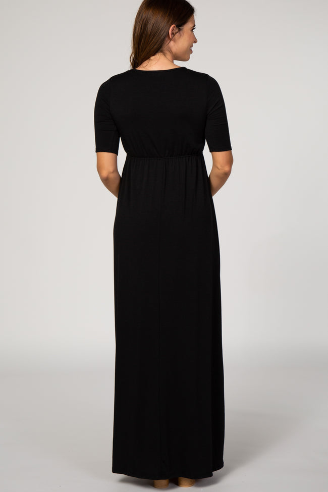 Black Fitted Sleeve Drawstring Waist Maternity Maxi Dress