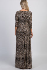 Taupe Leopard Print Maternity/Nursing Wrap Maxi Dress