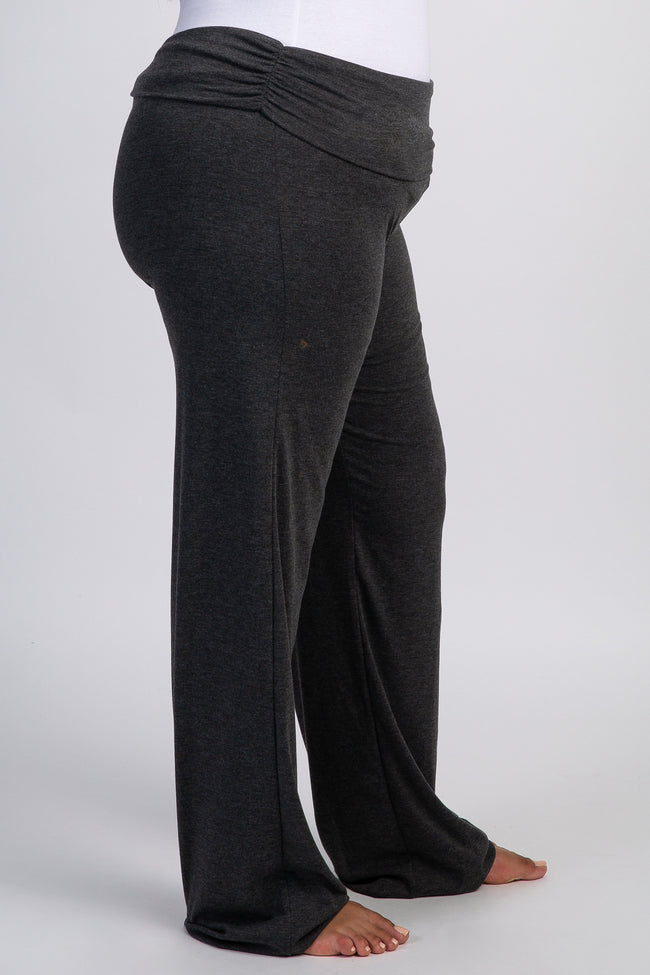 PinkBlush Charcoal Grey Foldover Long Plus Lounge Pants