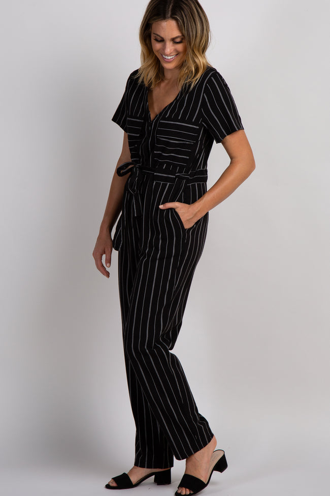 Black Striped Belted Jumpsuit