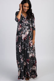 PinkBlush Forest Green Rose Print Sash Tie Maternity Maxi Dress