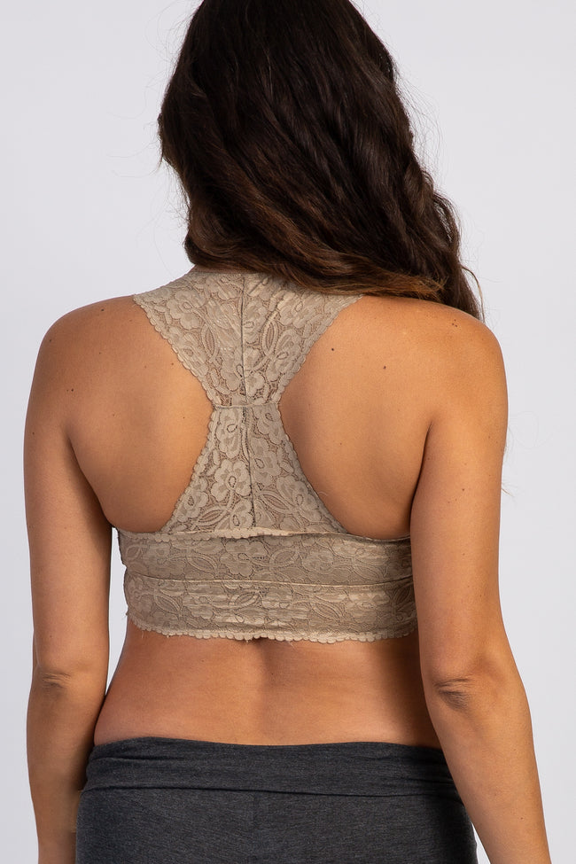 Taupe Lace Sweetheart Maternity Bralette
