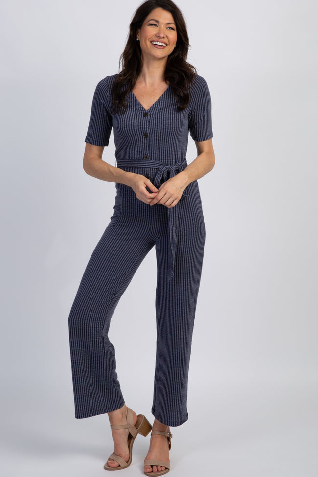 Navy Pinstriped Knit Button Sash Tie Maternity Jumpsuit