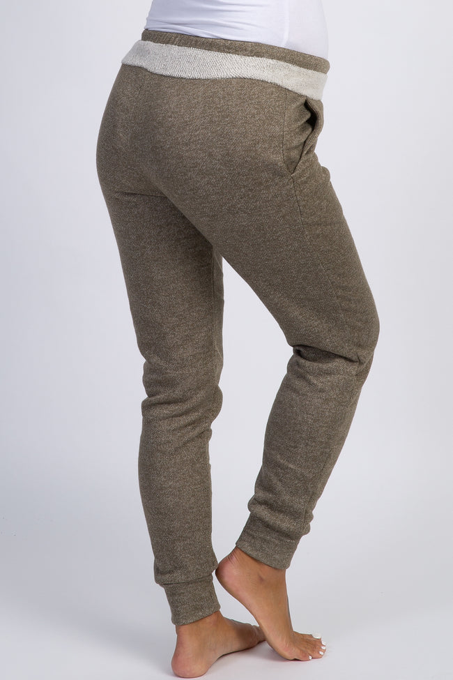 Light Olive Terry Drawstring Maternity Sweatpants