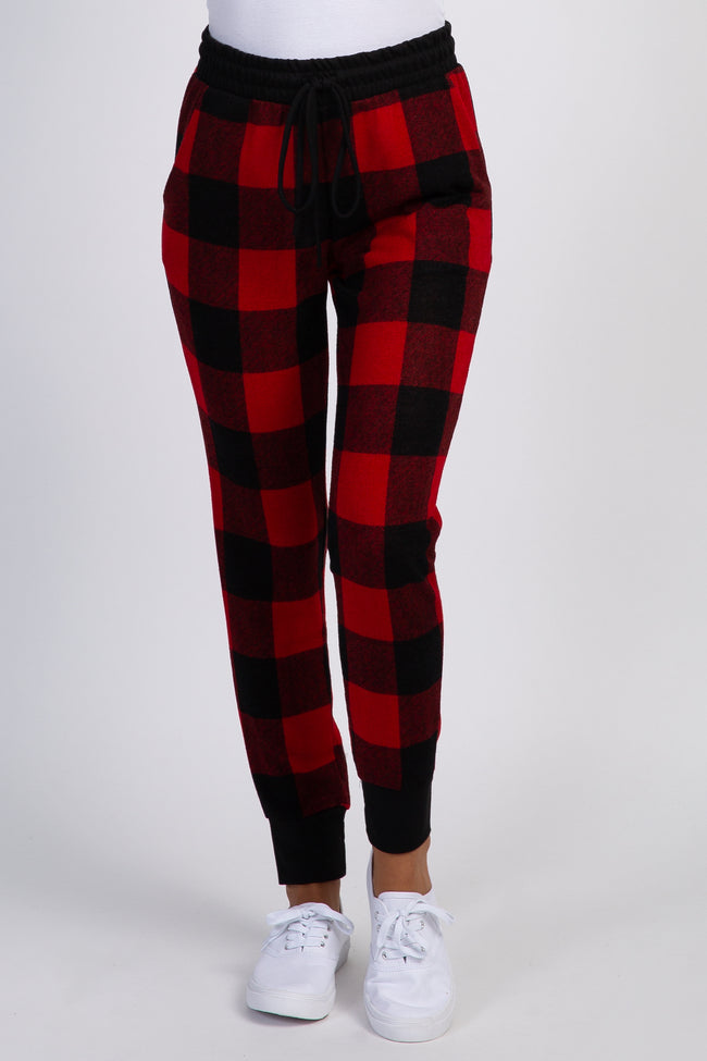 Red Plaid Knit Jogger Sweatpants