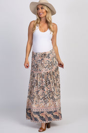 Beige Paisley Side Slit Maternity Maxi Skirt