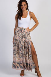 Beige Paisley Side Slit Maxi Skirt