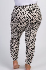 Beige Leopard Drawstring Plus Sweatpants