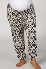 Beige Leopard Drawstring Plus Maternity Sweatpants