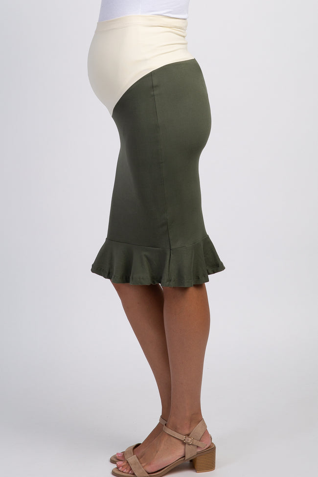 Olive Fitted Ruffle Hem Maternity Pencil Skirt