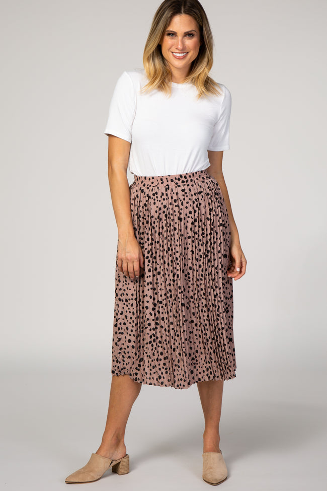 Mauve Polka Dot Pleated Skirt