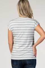 Heather Grey Striped Layered Wrap Front Maternity Nursing Top