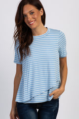 PinkBlush Light Blue Striped Layered Wrap Front Maternity Nursing Top
