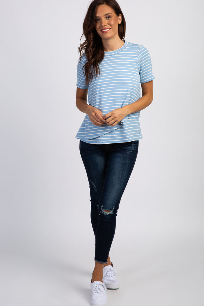 PinkBlush Light Blue Striped Layered Wrap Front Nursing Top