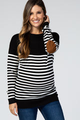 PinkBlush Black Striped Elbow Patch Knit Maternity Sweater