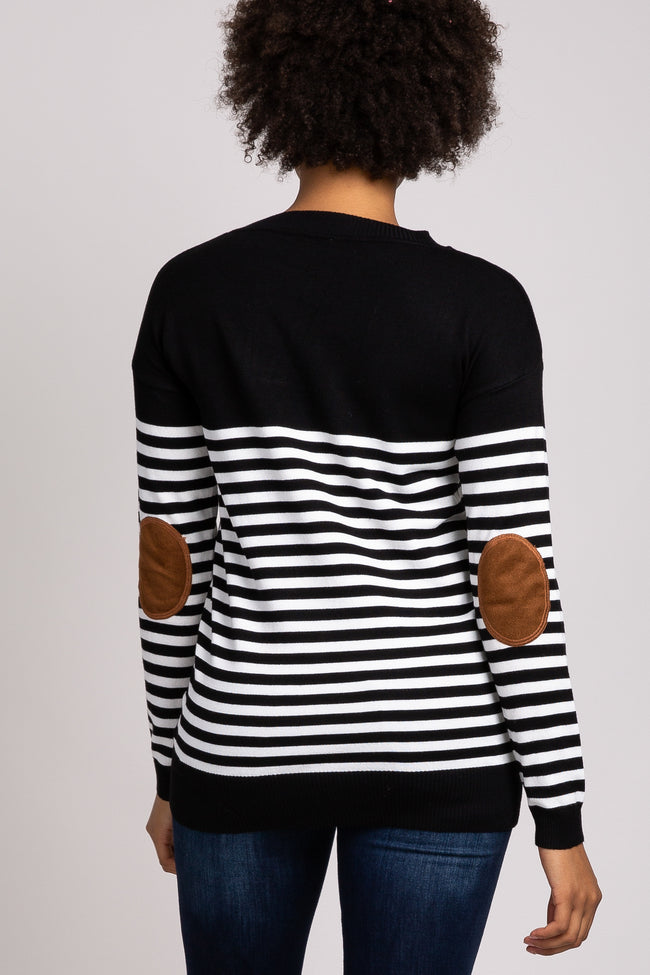 PinkBlush Black Striped Elbow Patch Knit Sweater