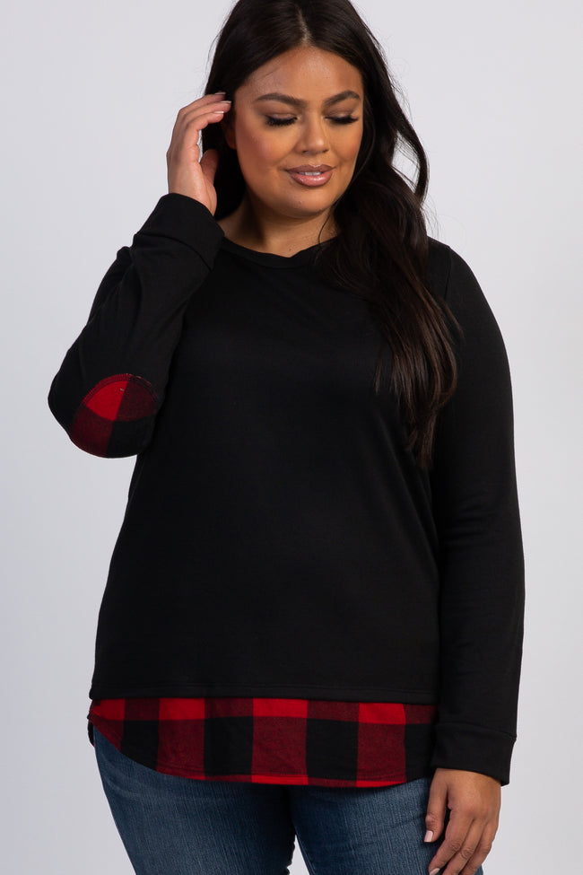 Black Plaid Accent Long Sleeve Plus Maternity Top