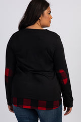 Black Plaid Accent Long Sleeve Plus Top