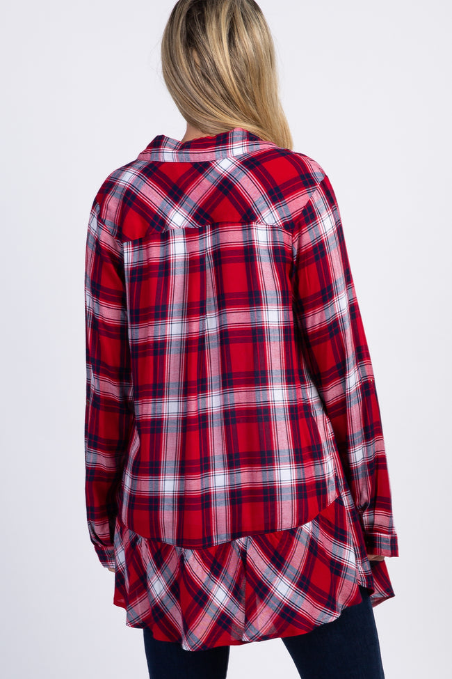 Red Plaid Collared Ruffle Back Maternity Cardigan
