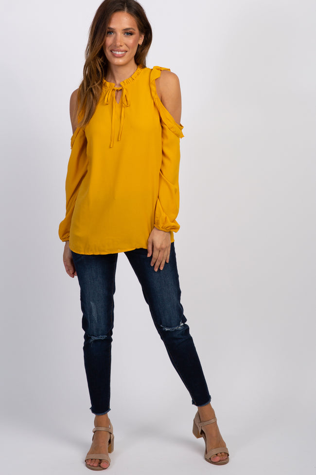 Mustard Cold Shoulder Ruffle Peasant Top