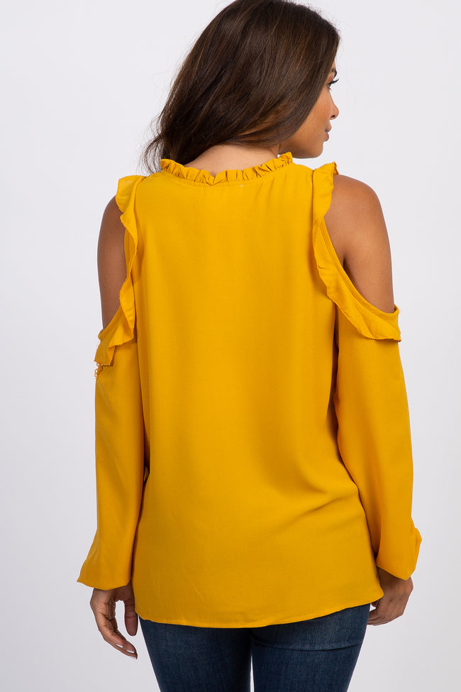 Mustard Cold Shoulder Ruffle Maternity Peasant Top