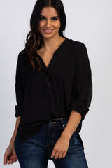Black Long Sleeve Button Front Maternity Blouse