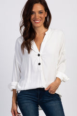 White Long Sleeve Button Front Blouse