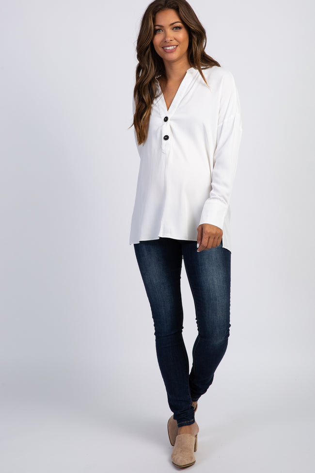 White Long Sleeve Button Front Maternity Blouse