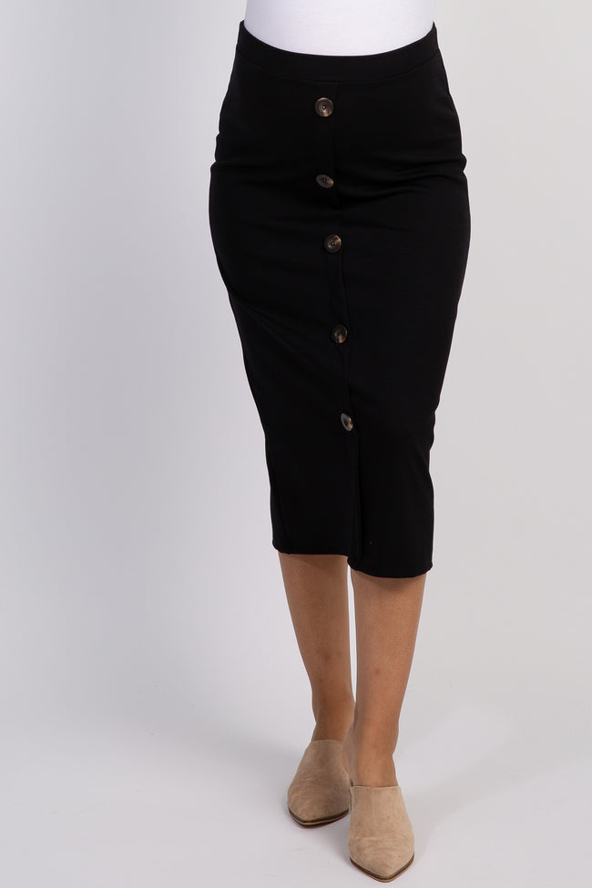 Black Button Accent Fitted Maternity Skirt