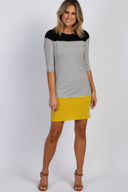 Black Yellow Colorblock Striped Shift Dress