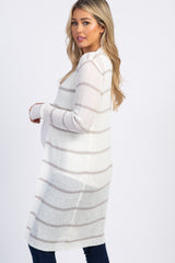 Heather Grey Striped Knit Long Maternity Cardigan