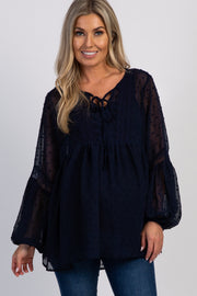 Navy Solid Swiss Dot Puff Sleeve Maternity Top