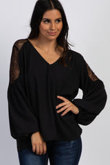 Black Lace Accent Puff Sleeve Maternity Blouse