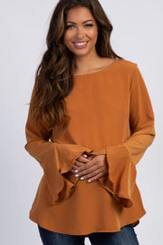 Camel Solid Long Bell Sleeve Maternity Top