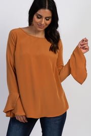 Camel Solid Long Bell Sleeve Blouse