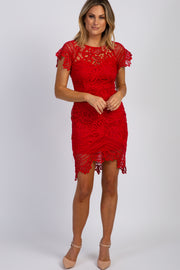 Red Scalloped Crochet Lace Fitted Dress