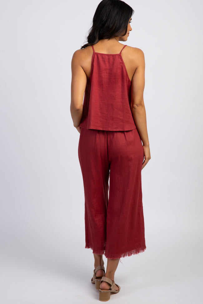 Red Sleeveless Top Cropped Frayed Hem Pants Set