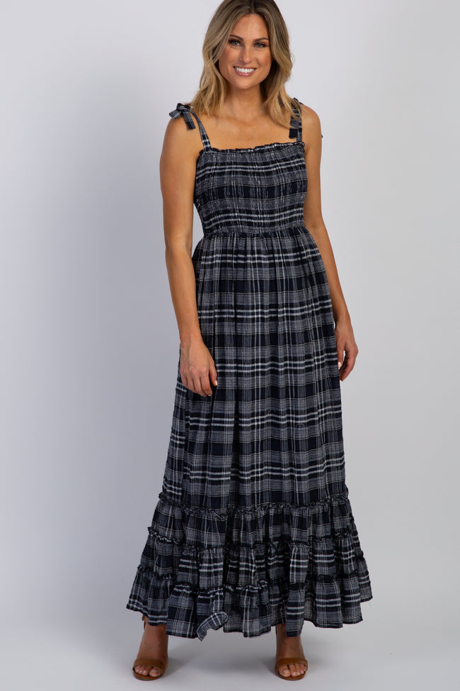 Navy Blue Plaid Smocked Shoulder Tie Maxi Dress