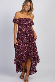 Plum Floral Off Shoulder Wrap Maxi Dress