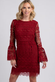 Burgundy Crochet Lace Overlay Bell Sleeve Dress