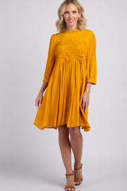 Yellow Crochet Accent Pleated Dress