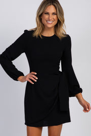 Black Puff Sleeve Layered Side Tie Dress