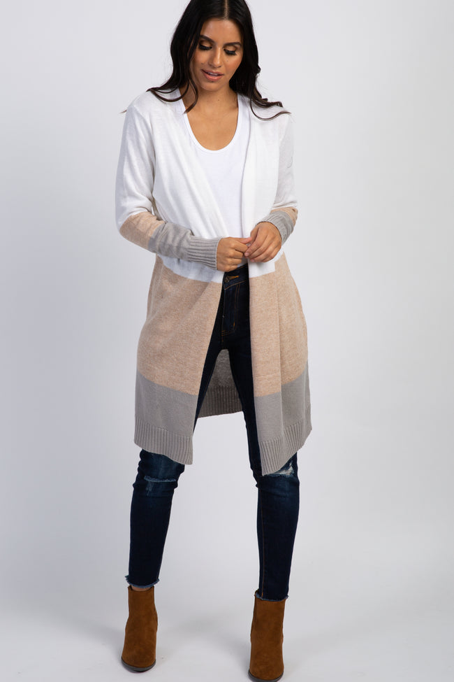 Ivory Colorblock Long Knit Cardigan