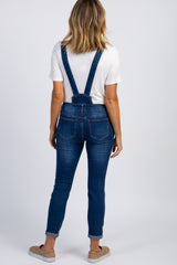 Navy Blue Distressed Cropped Denim Overalls