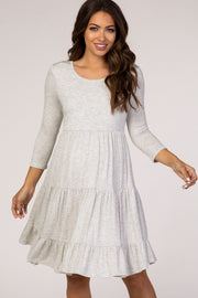 PinkBlush Heather Grey Long Sleeve Tiered Maternity Dress