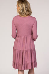 PinkBlush Mauve Heathered Long Sleeve Tiered Dress